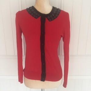 Cynthia Rowley red & black beaded cardigan small